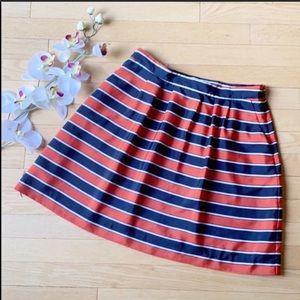 J.CREW skirt size 6 red blue pockets striped